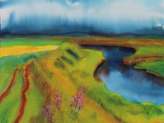Acrylic painting based on walks along the dyke at Aldeburgh, Suffolk