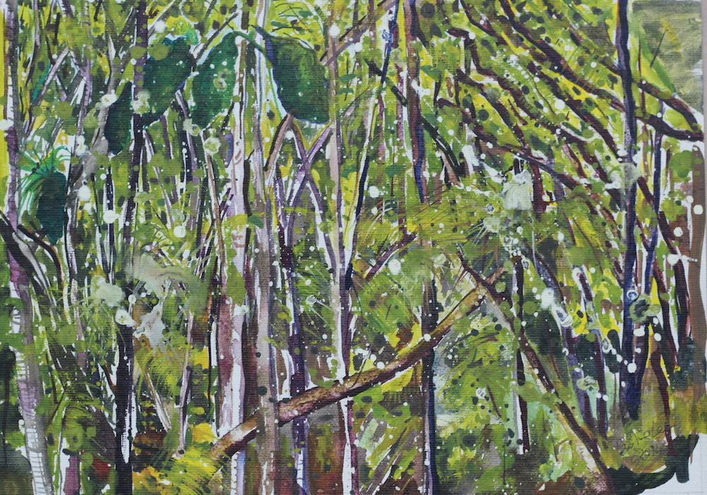 Watercolour and acrylic painting of bush walk New Zealand