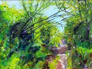 Watercolour and acrylic painting of bush walk, New Zealand