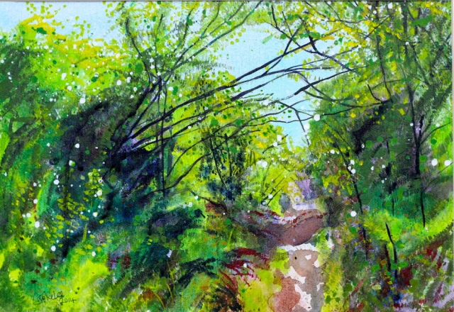Watercolour and acrylic painting of bush walk, New Zealand