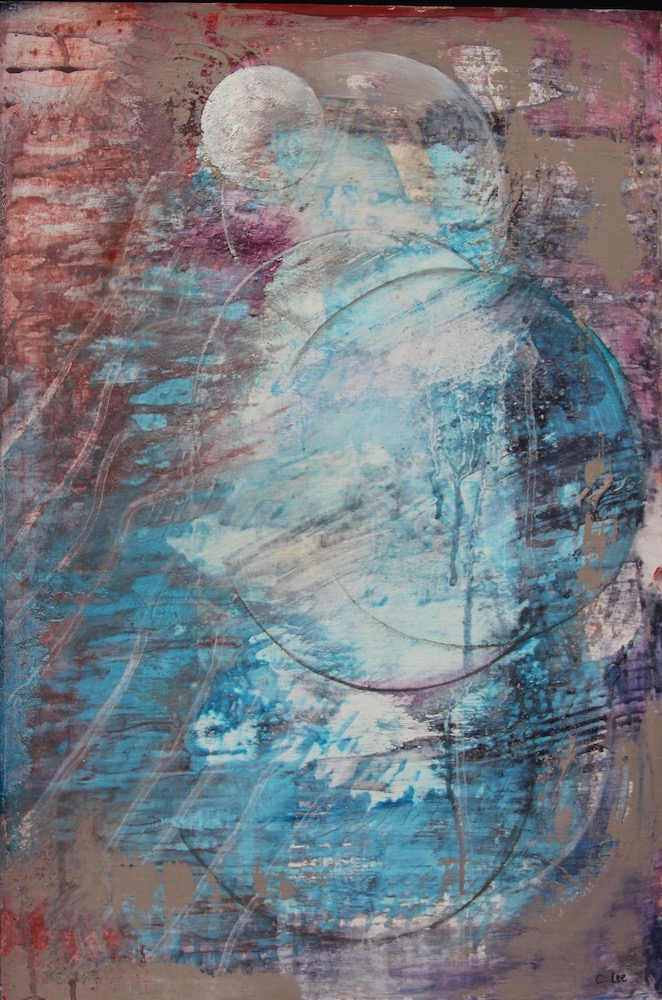 Abstract mixed media. Once in a Blue Moon.