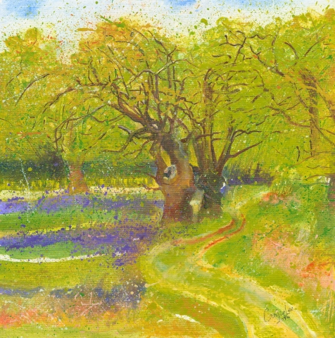Ancient English woodland, with spring bluebells, Suffolk. Oil painting