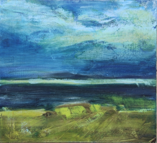 Oil and cold wax painting of the shore lines, sea and sky.