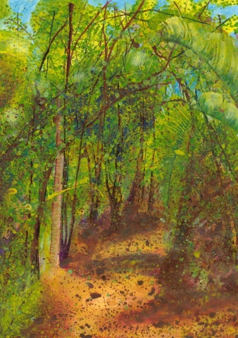 Acrylic painting of path through forest, New Zealand.