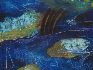 Abstract intuitive painting, evocative of coast lines,views from the air.