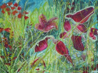 A colourful interpretation of meadow flowers a blurring between abstraction and representational.