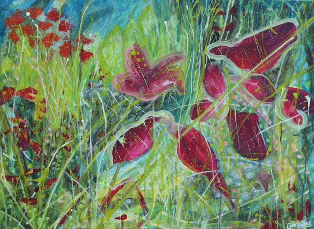 Inspired by meadow flowers a blurring between abstraction and representational.